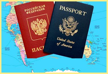 Карта и паспорта РФ и США