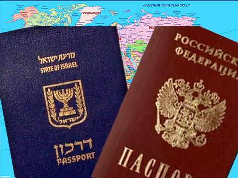 Карта и паспорта РФ и Израиля