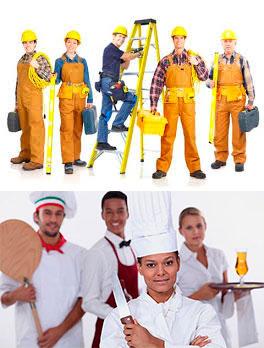 Строители, повары и официанты