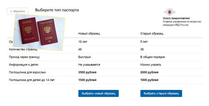 Выбор типа паспорта на сайте Госулуги