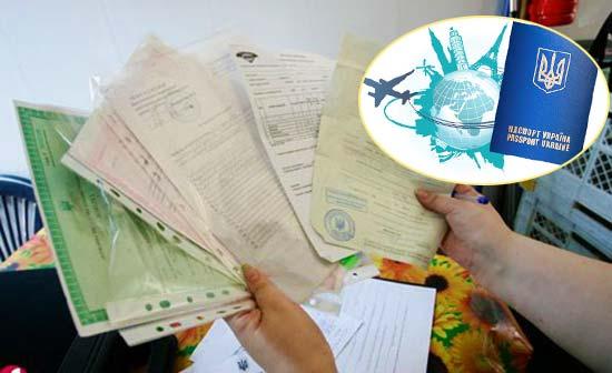 Документы и спарвки на загранпаспорт украины