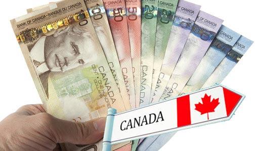 Веер канадских долларов и работа в Канаде