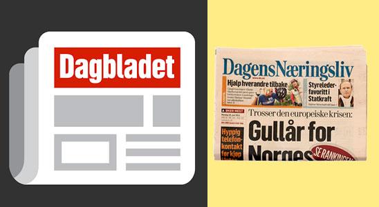 Газеты Норвегии с вакансиями Dagens Naeringsliv, Dagbladet